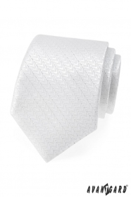 Świąteczny biały krawat ze srebrną nitką