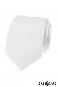 Biały krawat męski w paski