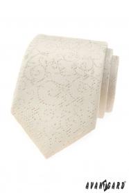 Kremowy męski krawat ze wzorem
