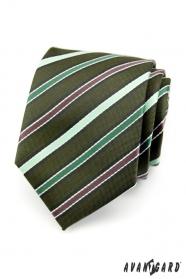 Krawat męski - zielony w paski