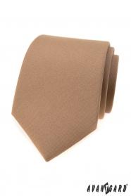 Jasnobrązowy matowy krawat męski