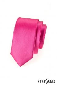 Wąski krawat Fuksja połysk