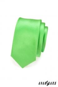Wąski krawat SLIM zielony połysk