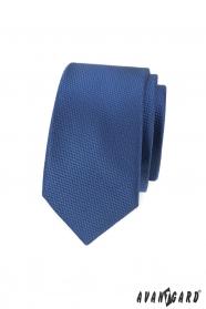 Ciemnoniebieski wąski krawat męski