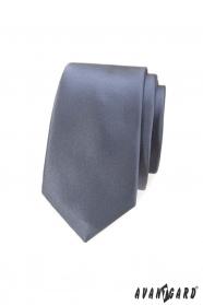 Wąski krawat męski w kolorze szarym