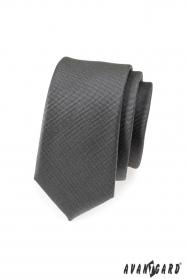Grafitowo-szary wąski krawat