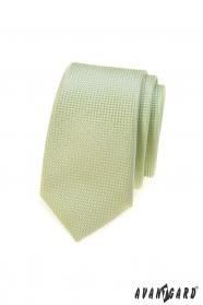 Wąski zielony krawat, dzianinowa struktura