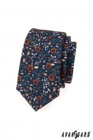 Krawat wąskie niebieskie brązowe kwiaty