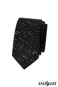 Czarny wąski krawat Nuty