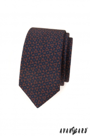 Wąski niebieski krawat z brązowym wzorem