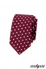 Bordowy wąski krawat w białe kropki