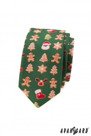 Wąski zielony krawat ze świątecznym motywem
