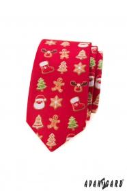 Czerwony wąski krawat ze świątecznym motywem