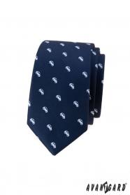 Niebieski wąski krawat z białym motywem samochodu