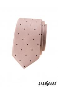 Beżowy wąski krawat w małe czarne kropki