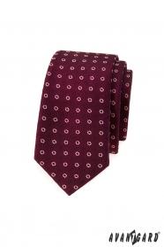 Wąski krawat w bordo - białe kwiaty