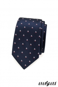 Niebieski wąski krawat, wzór żaglówki