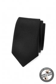 Czarny, matowy slim krawat Avantgard