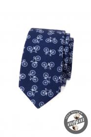 Wąski bawełniany krawat w kolorze niebieskim z motywem roweru