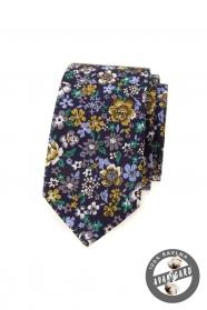 Ciemnofioletowy wąski krawat w kolorowe kwiaty