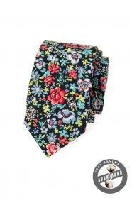 Niebieski wąski krawat w kolorowe kwiaty