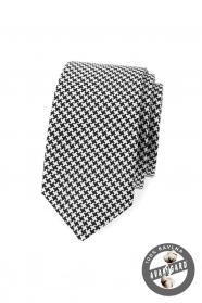 Czarno-biały wąski krawat z bawełny