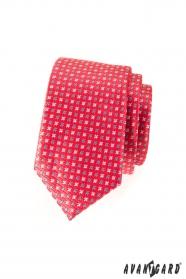 Wąski krawat ciemnoróżowy mat z gwiazdkami