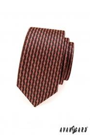Wąski krawat w odcieniach brązu i czerwieni