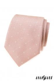 Pudroworóżowy krawat w płatki śniegu
