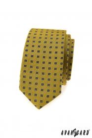 Ciemnożółty wąski krawat z niebieskim wzorem