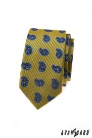 Zielonkawy wąski krawat, niebieski wzór Paisley