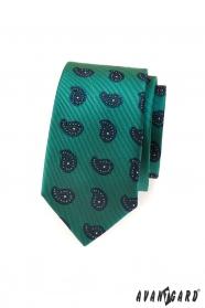 Zielony wąski krawat, niebieski motyw Paisley