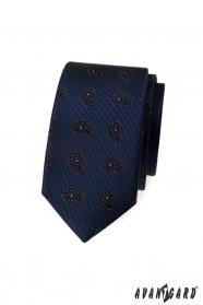Wąski niebieski krawat z małym wzorem paisley
