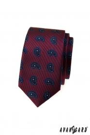 Bordowy wąski krawat z małym wzorem paisley