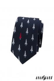 Wąski niebieski krawat, wzór rakiety