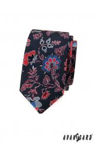Wąski krawat męski w kolorowe kwiaty