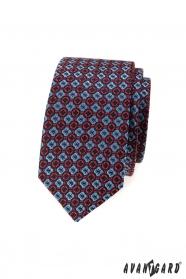 Wąski krawat męski z niebiesko-czerwonym wzorem