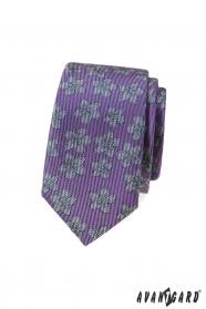 Fioletowy wąski krawat w szary wzór