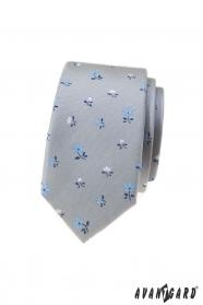 Szary wąski krawat w kwiaty