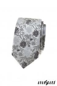 Wąski krawat w szary wzór