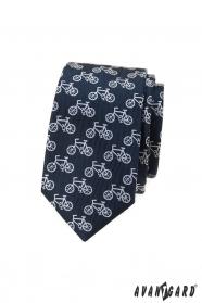 Niebieski wąski krawat z motywem roweru