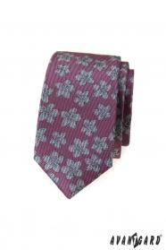 Ciemnoróżowy wąski krawat w szare kwiaty