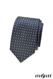 Ciemnoszary wąski krawat w jasną kropkę