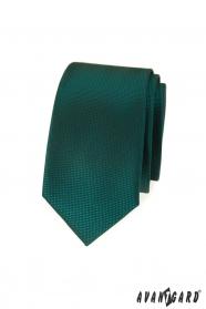 Ciemnozielony wąski krawat