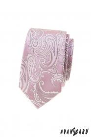 Różowy wąski krawat z motywem paisley