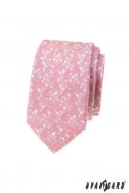 Wąski krawat w kolorze pudrowego różu z białym wzorem