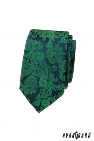 Wąski krawat w zielony wzór