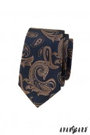 Niebieski wąski krawat z brązowym motywem paisley