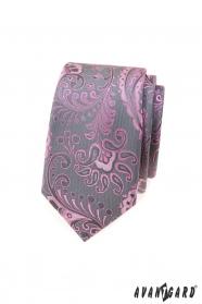 Szary wąski krawat z różowym wzorem paisley