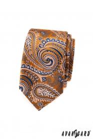 Pomarańczowy wąski krawat z niebieskim wzorem paisley